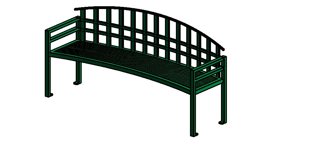 Example of a Revit file from the project featuring a bench from Keystone Ridge Designs catalog of site furnishings.
