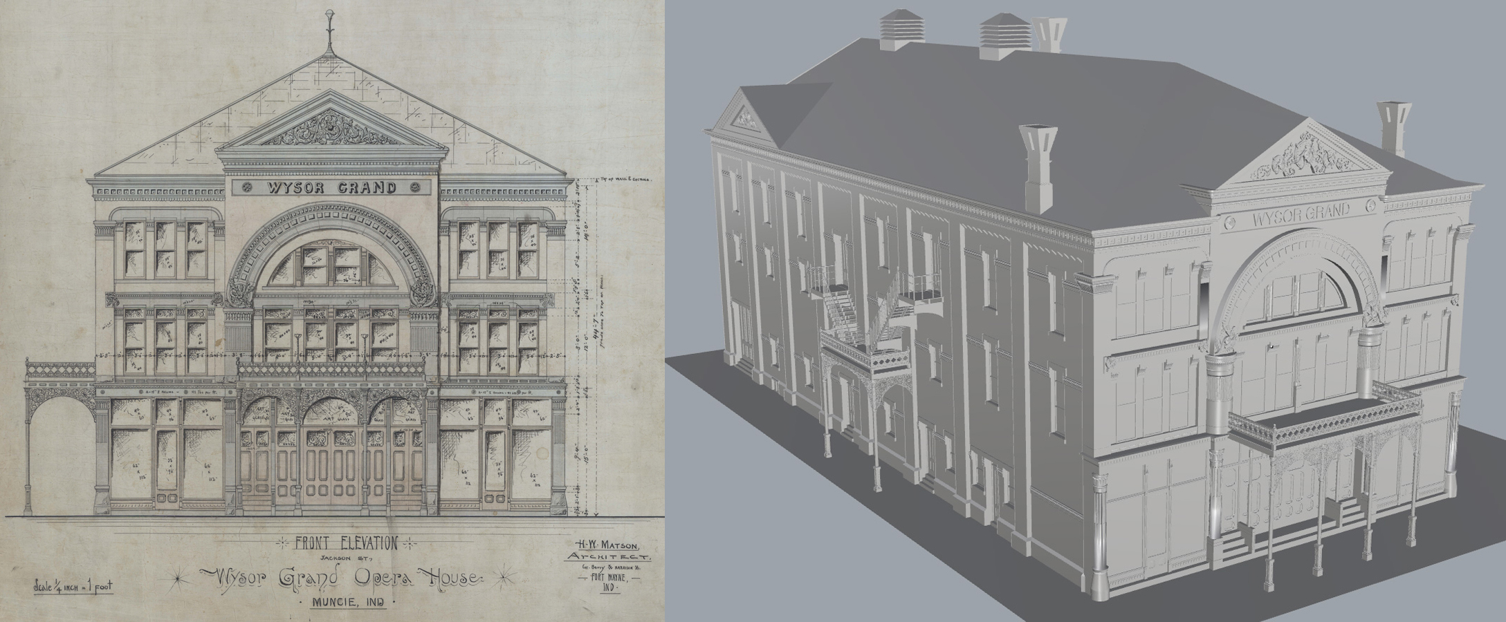 Wysor Grand Opera House 3D rendering (2014) and original drawing (1891). Indiana Architecture X 3D, Drawings + Documents Archive, Ball State University Libraries.