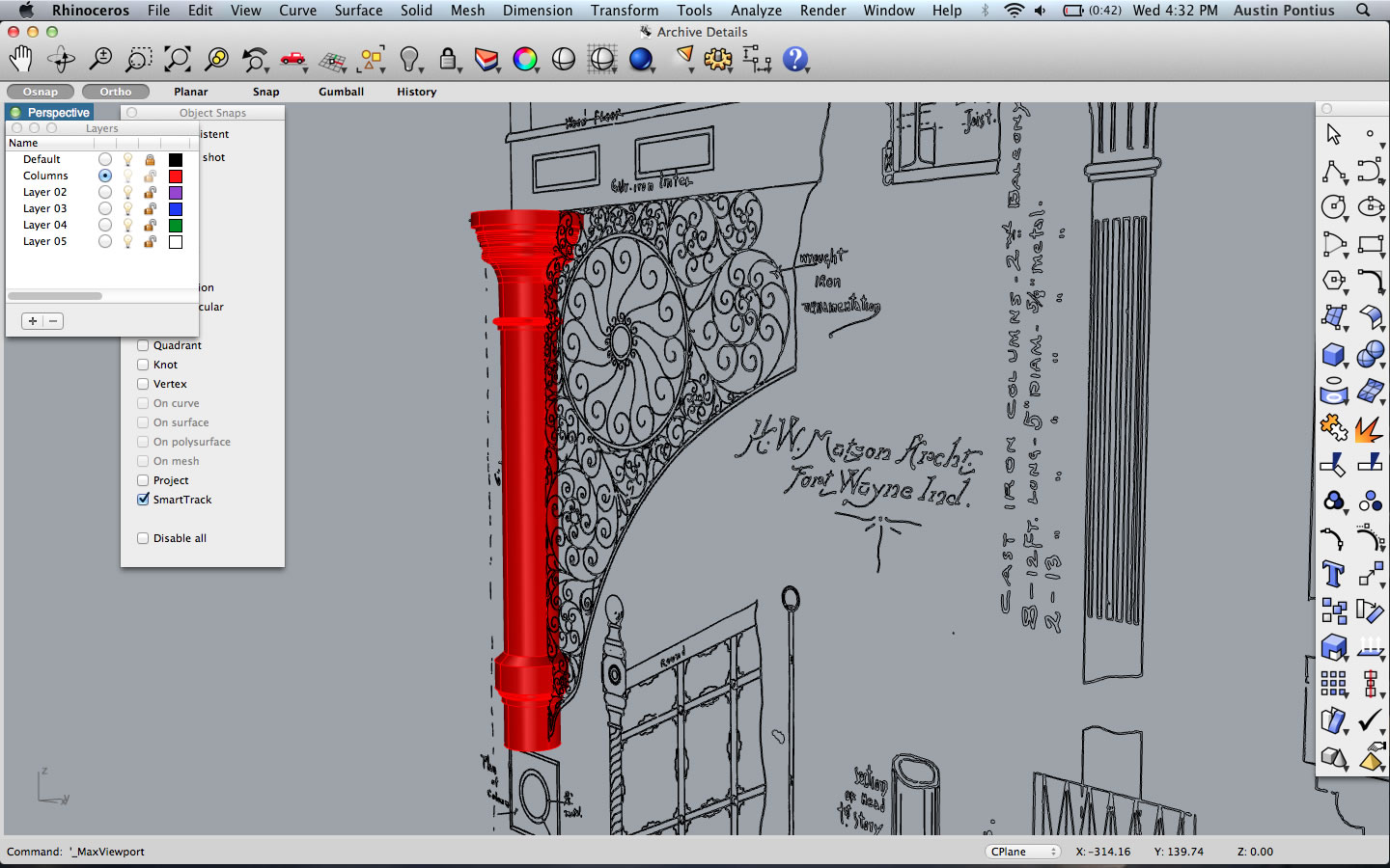 3D modeling process for column with wrought iron ornamentation and cast iron balcony railing, 2014. Indiana Architecture X 3D, Drawings + Documents Archive, Ball State University Libraries.
