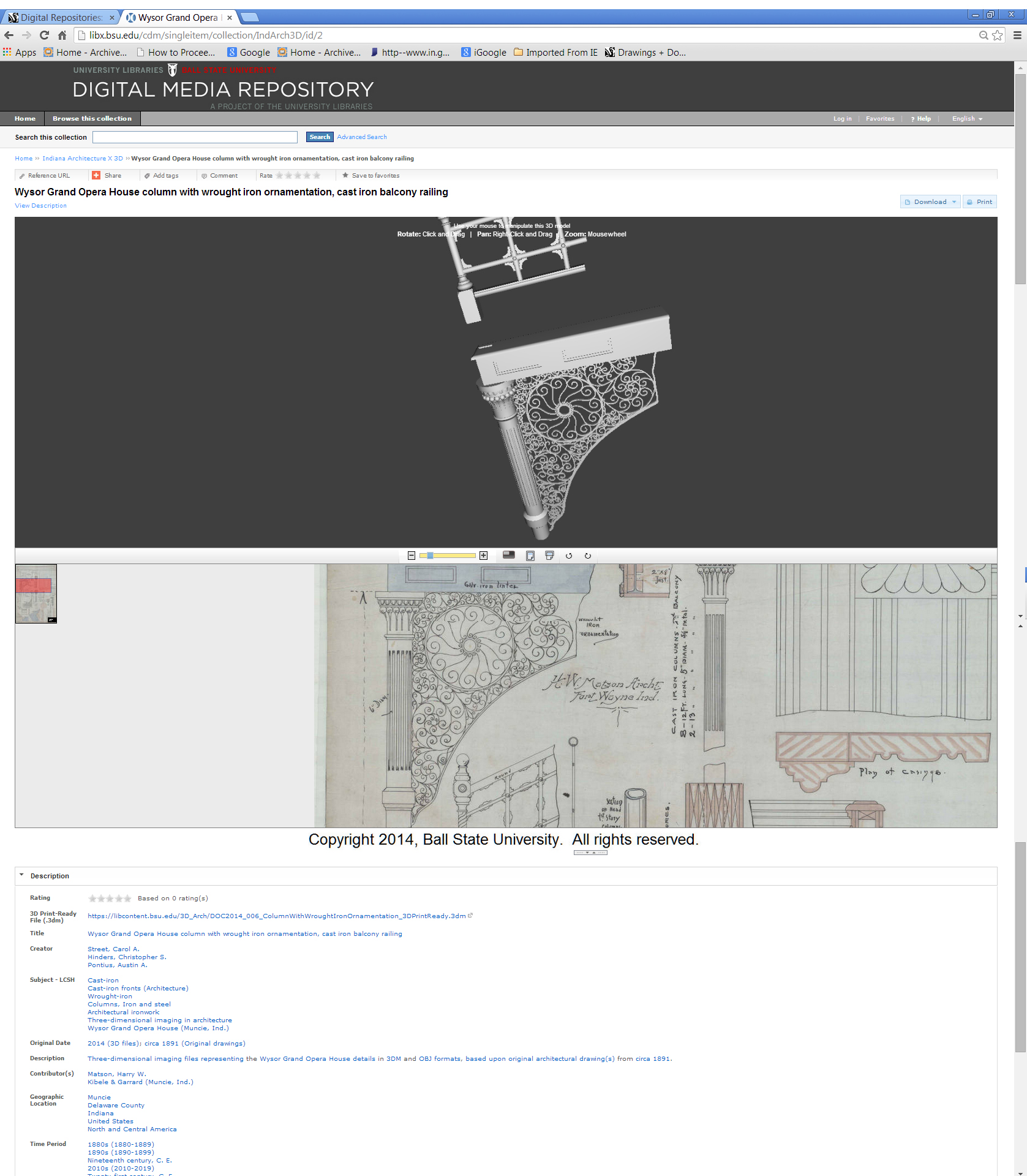 Digital Media Repository screenshot for column with wrought iron ornamentation and cast iron balcony railing, 2014. Indiana Architecture X 3D, Drawings + Documents Archive, Ball State University Libraries.